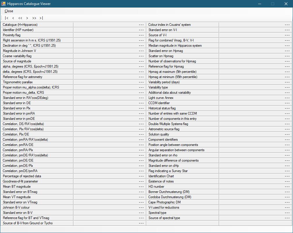 Hipparcos Catalog Viewer von Hipparcos-DB 0.0.3.3 (Screenshot)
