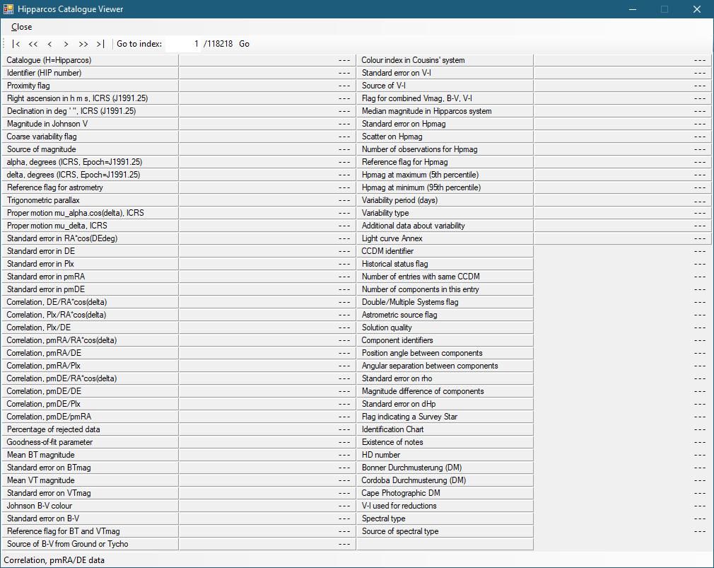 Hipparcos Catalog Viewer von Hipparcos-DB 0.1.0.5 (Screenshot)