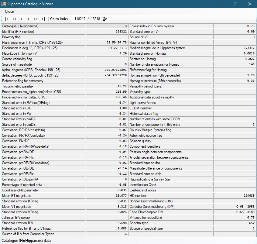 Hipparcos Catalog Viewer von Hipparcos-DB 0.1.1.6 (Screenshot)