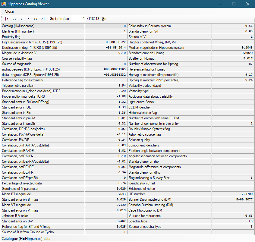 Hipparcos Catalog Viewer von Hipparcos-DB 0.1.2.7 (Screenshot)