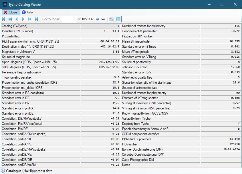 Tycho Catalog Viewer von Hipparcos-DB 0.5.4.23 (Screenshot)