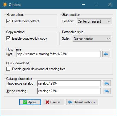 Einstellungsdialog von Hipparcos-DB 0.5.4.23 (Screenshot)