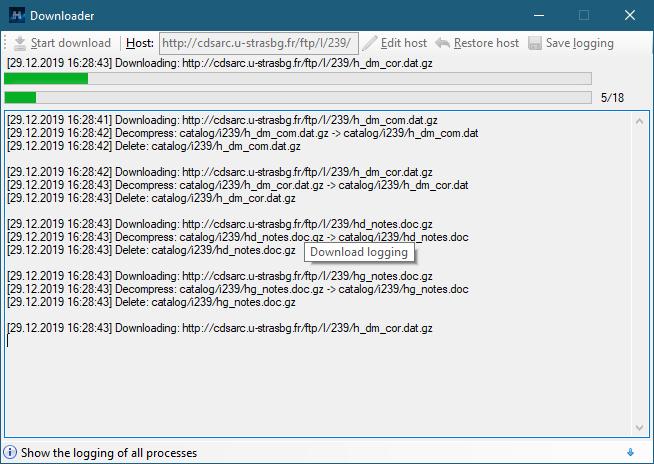 Catalog Downloader von Hipparcos-DB 0.5.4.23 (Screenshot)