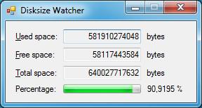 Disksize Watcher 0.0.2.2 (Screenshot)